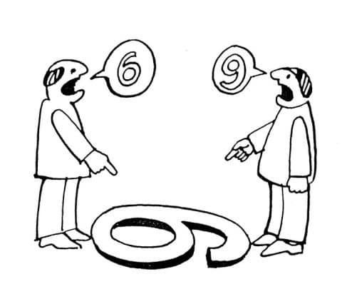 Deux personnages voient un 6 ou un 9 suivant l'angle de vue